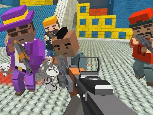Play GunGame shooting warfare: blocky gangster Now!