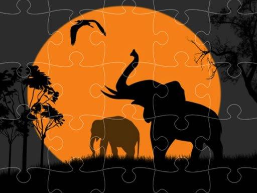 Play Elephant Silhouette Jigsaw Now!
