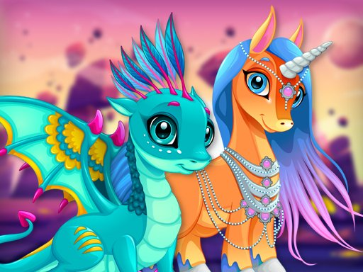 Play Cute Unicorns And Dragons Puzzle Now!